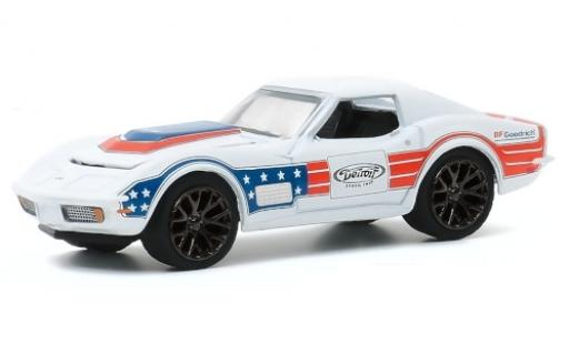 Chevrolet Corvette 1/64 Greenlight C3 Tuning bianco/Dekor BF Goodrich 1972 modellino in miniatura