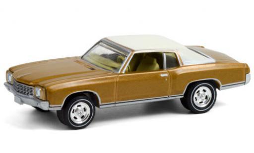 Chevrolet Monte Carlo 1/64 Greenlight gold/matt-blanche 1970 50th Anniversaire of miniature