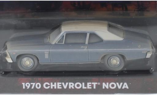 Chevrolet Nova 1/64 Greenlight metallise bleue/matt-blanche Beverly Hills Cop 1970 miniature