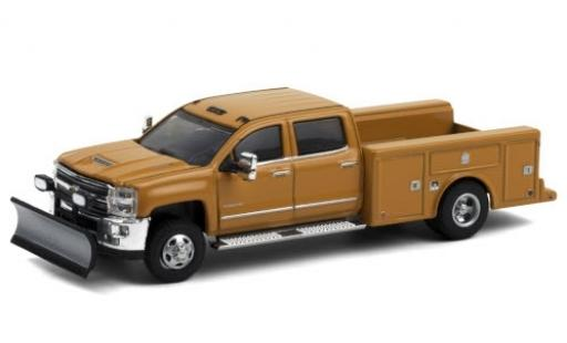 Chevrolet Silverado 1/64 Greenlight 3500 HD Service Bed orange 2018 avec Chasse-neige diecast model cars