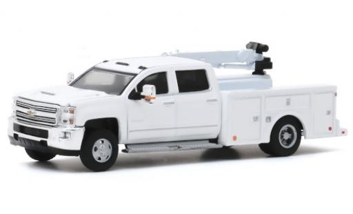 Chevrolet Silverado 1/64 Greenlight 3500HD Crane Truck blanche 2016 miniature