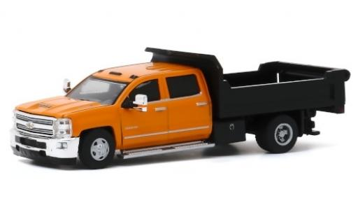 Chevrolet Silverado 1/64 Greenlight 3500HD Dump Truck orange 2017 miniature
