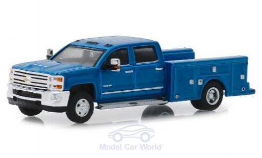 Chevrolet Silverado 1/64 Greenlight 3500HD metallise bleue 2018 miniature