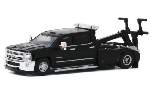 Chevrolet Silverado 1/64 Greenlight 3500HD Wrecker noire 2018 miniature