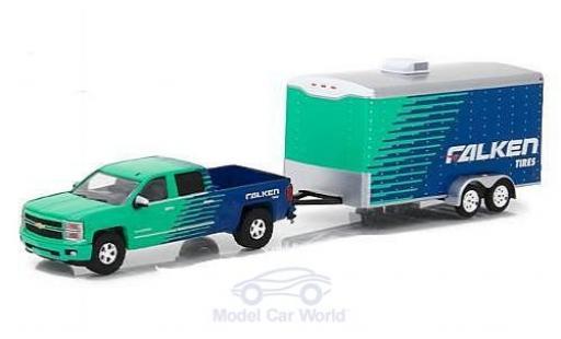 Chevrolet Silverado 1/64 Greenlight green/blue Falken Tire 2015 mit Anhänger diecast model cars
