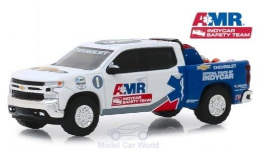 Chevrolet Silverado 1/64 Greenlight blanche/bleue Indy Car Saftey Team 2019 miniature