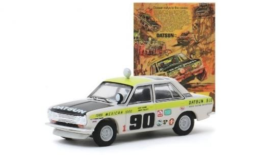 Datsun 510 1/64 Greenlight 4-Door Sedan No.90 Brock Racing Enterprises Mexican 1000 1969 G.Follett/M.McBee miniature