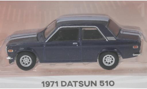 Datsun 510 1/64 Greenlight metallise bleue/blanche 1971 2-Door Sedan miniature