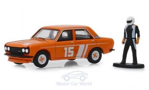 Datsun 510 1/64 Greenlight No.15 1970 mit Rennfahrerfigur miniature