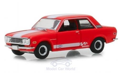 Datsun 510 1/64 Greenlight rouge/blanche 1970 miniature