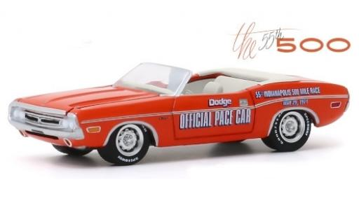 Dodge Challenger 1/64 Greenlight Convertible orange/Dekor Official Pace Car 1971 55th Indianapolis 500 Mile Race diecast model cars