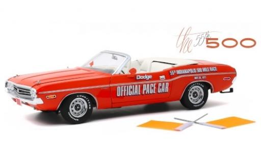 Dodge Challenger 1/18 Greenlight Convertible orange Official Pace Car Indy 500 1971 55th Indianapolis 500 Mile Race y compris les Flaggen miniature