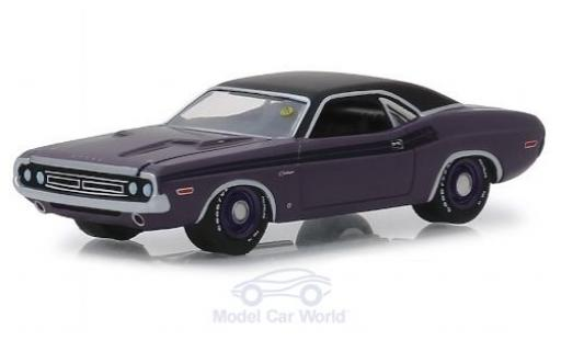 Dodge Challenger 1/64 Greenlight R/T Hemi metallise violette/noire 1971 miniature