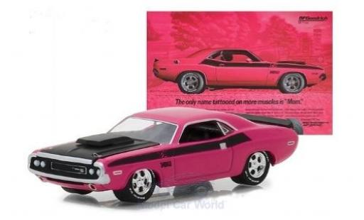 Dodge Challenger 1970 1/64 Greenlight T/A rose/noire miniature