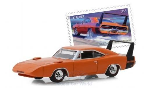 Dodge Charger 1/64 Greenlight Daytona orange/noire 1969 miniature