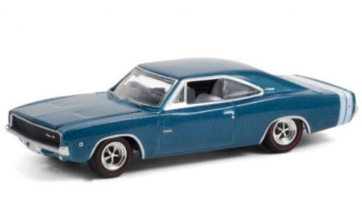 Dodge Charger 1/64 Greenlight R/T HEMI metallise blue/white 1968 426 HEMI 50 Years diecast model cars