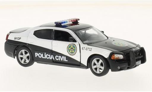 Dodge Charger 1/43 Greenlight schwarz/weiss Fast Five 2011 Rio Police Policia Civil modellautos