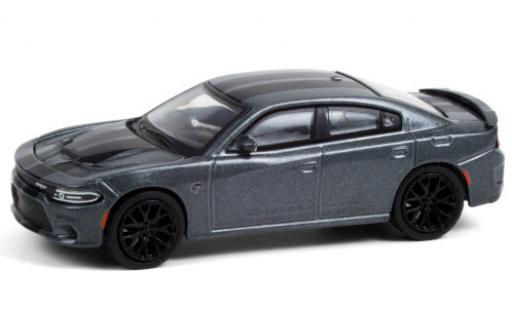 Dodge Charger 1/64 Greenlight SRT Hellcat metallise grise/matt-noire 2018 miniature