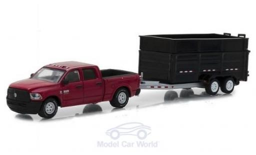 Dodge RAM 1/64 Greenlight Ram 2500 metallic-rouge 2017 mit Kippanhänger miniature
