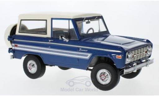 Ford Bronco 1/18 Greenlight Explorer metallise bleue/blanche 1976 miniature