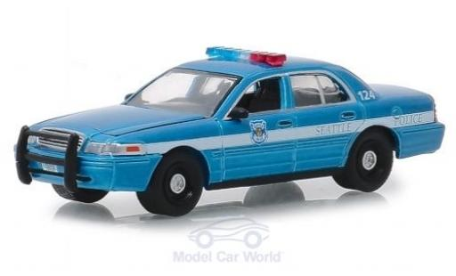 Ford Crown 1/64 Greenlight Victoria azul Seattle Police 2010 miniatura