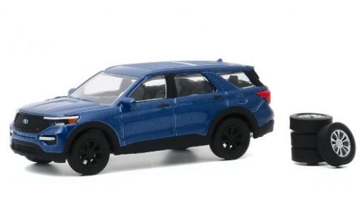 Ford Explorer 1/64 Greenlight ST metallise bleue 2020 avec Ersatzrädern miniature