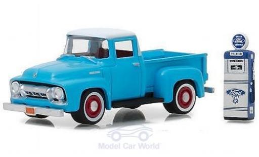 Ford F-1 1/64 Greenlight 00 bleue/blanche 1954 mit Zapfsäule miniature