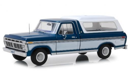 Ford F-1 1/18 Greenlight 00 metallise bleue/blanche 1975 avec détachable Ladeabdeckung miniature
