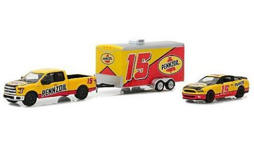 Ford F-1 1/64 Greenlight 50 Pennzoil 2015 with 2012 Shelby GT500 and Enclosed Car Hauler miniature