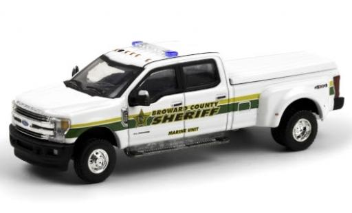 Ford F-350 1/64 Greenlight Lariat Broward County Sheriff 2018 Marine Unit diecast model cars