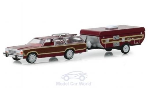 Ford LTD 1/64 Greenlight Country Squire rouge/Holzoptik 1981 mit Pop-Up Camper Trailer miniature