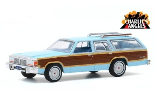 Ford LTD 1/18 Greenlight Country Squire azul/Holzoptik Charlies Angels 1979 miniatura