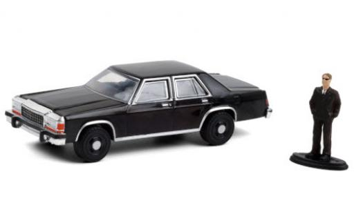 Ford LTD 1/64 Greenlight Crown Victoria noire 1987 avec figurine miniature