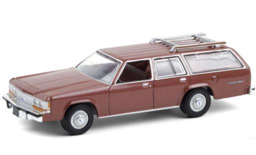 Ford LTD 1/64 Greenlight Crown Victoria Wagon metallise red 1989 diecast model cars