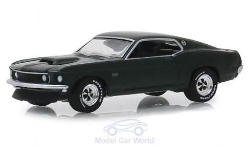 Ford Mustang 1/64 Greenlight BOSS 429 métallisé verte 1969 miniature
