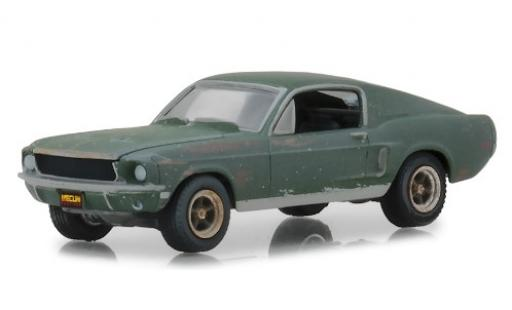 Ford Mustang 1/64 Greenlight GT Fastback Bullitt 1968 unrestauriert mit Stickern miniatura