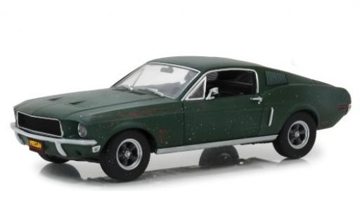 Ford Mustang 1/18 Greenlight GT Fastback mettalic grün Bullitt 1968 unrestauriert mit Stickerbogen modellautos