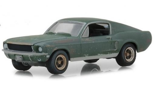 Ford Mustang 1/64 Greenlight GT Fastback unrestored verte Film Bullitt 1968 Steve McQueen miniature