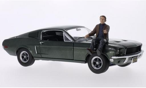 Ford Mustang 1/18 Greenlight GT metallise green Bullitt 1968 avec Steve McQueen figurine diecast model cars