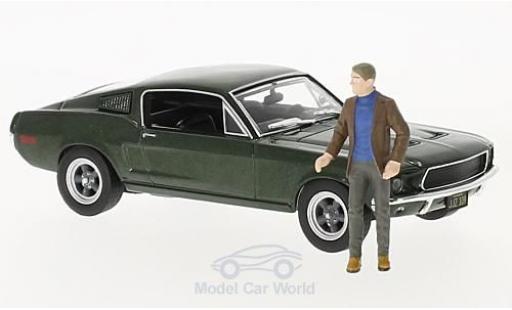 Ford Mustang 1/43 Greenlight GT métallisé verte Bullitt 1968 mit Figur Steve McQueen miniature