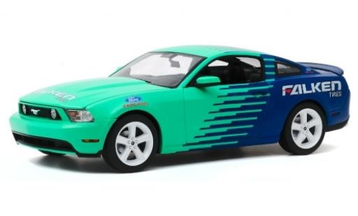 Ford Mustang 1/18 Greenlight GT turquoise/bleue Falken Tires 2010 miniature