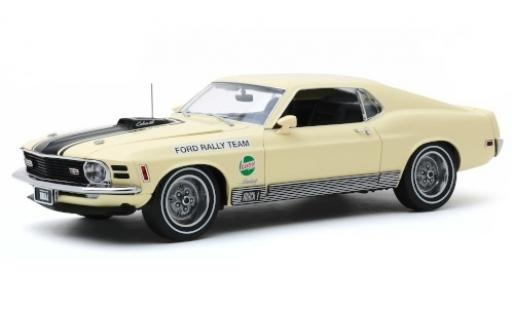 Ford Mustang 1/18 Greenlight Mach 1 428 beige/matt-negro Rally Team Castrol SCCA Manufacturers Road Rally 1970 coche miniatura
