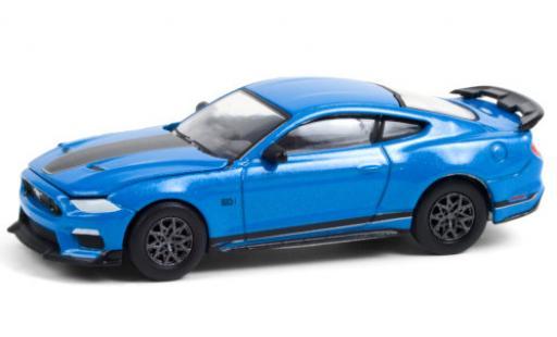 Ford Mustang 1/64 Greenlight Mach 1 metallise blue/matt-black 2021 diecast model cars