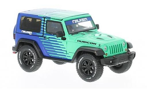 Jeep Wrangler 1/43 Greenlight verte/bleue Rubicon Falken Tire 2014 miniature