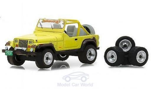 Jeep Wrangler 1/64 Greenlight YJ jaune 1991 mit Wheel und Tire Set miniature