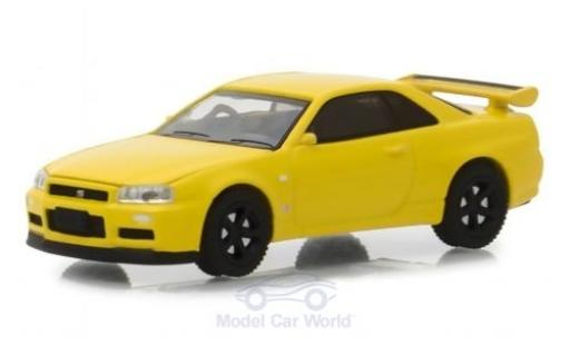 Nissan Skyline 1/64 Greenlight GT-R (BNR34) jaune 2001 miniature