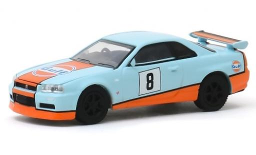 Nissan Skyline 1/64 Greenlight GT-R (BNR34) bleue/blanche RHD Gulf 2001 No.8 miniature