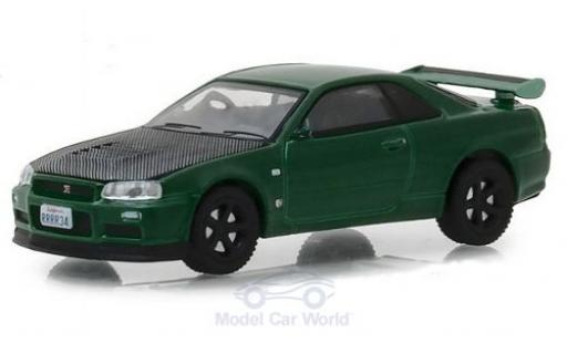 Nissan Skyline 1/64 Greenlight GT-R (BNR34) metallise green 2000 diecast model cars