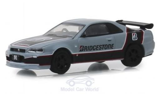 Nissan Skyline 1/64 Greenlight GT-R grise/noire Bridgestone 2001 miniature