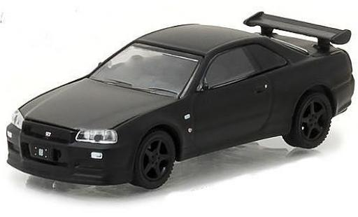 Nissan Skyline 1/64 Greenlight GT-R (R34) matt-black 2000 diecast model cars